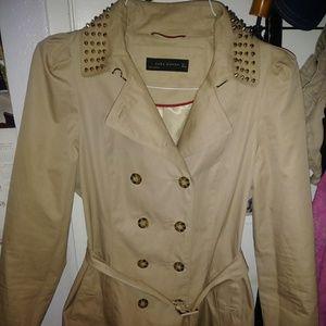 Zara Women's Beige Studded Collar Trench Coat